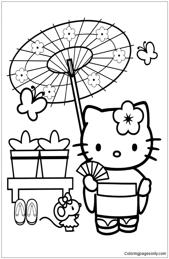 580x889 Hello Kitty Kimono Coloring Page Hello Kitty In Japan Coloring