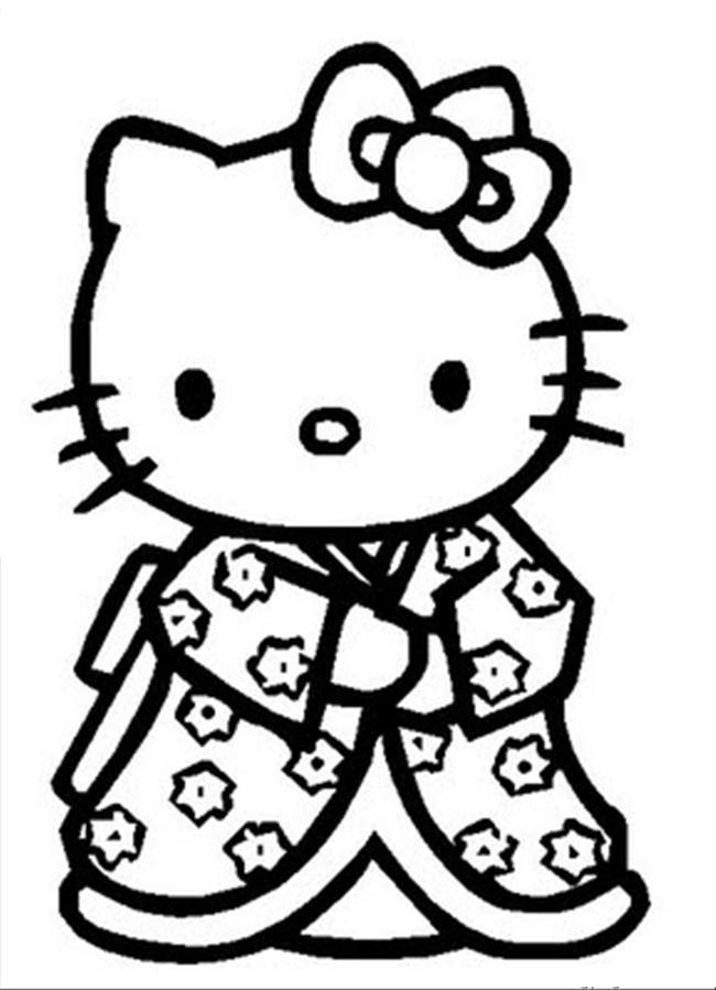 650x899 Hello Kitty Kimono Coloring Page Hello Kitty Wearing A Kimono