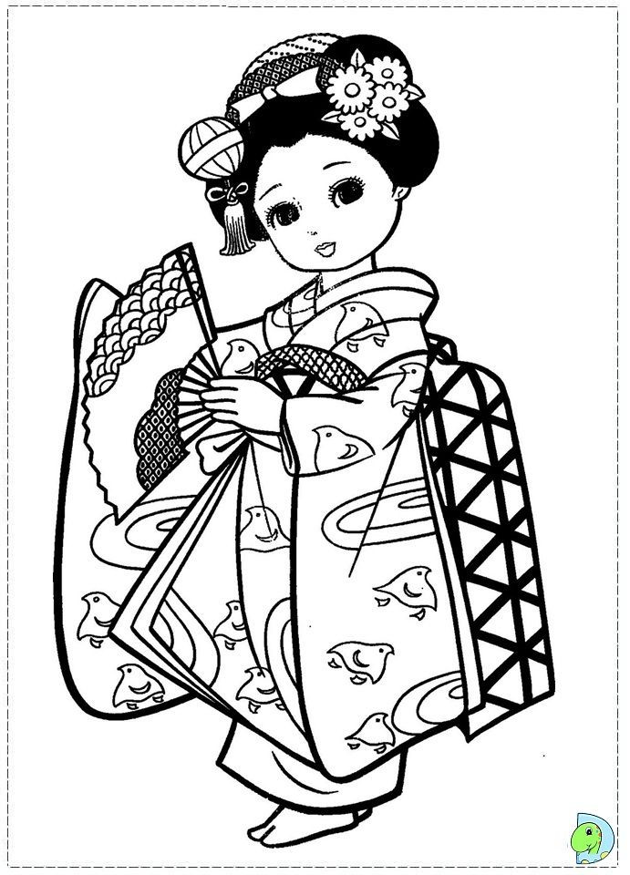 691x960 Japanese Coloring Pages Kimono Elegant Japan Girls Day Images