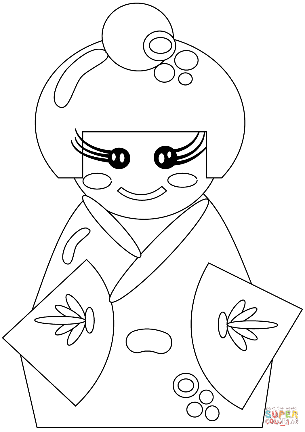 1060x1500 Japanese Doll Coloring Page