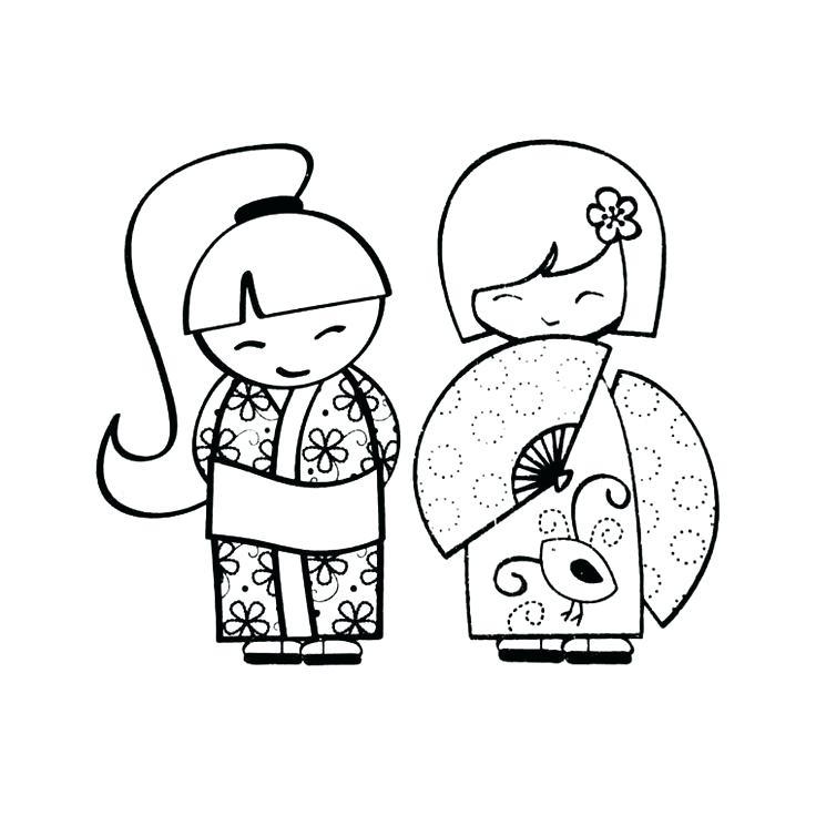 736x736 Kimono Doll Bookmark Coloring Page Kimono Designs Coloring Book