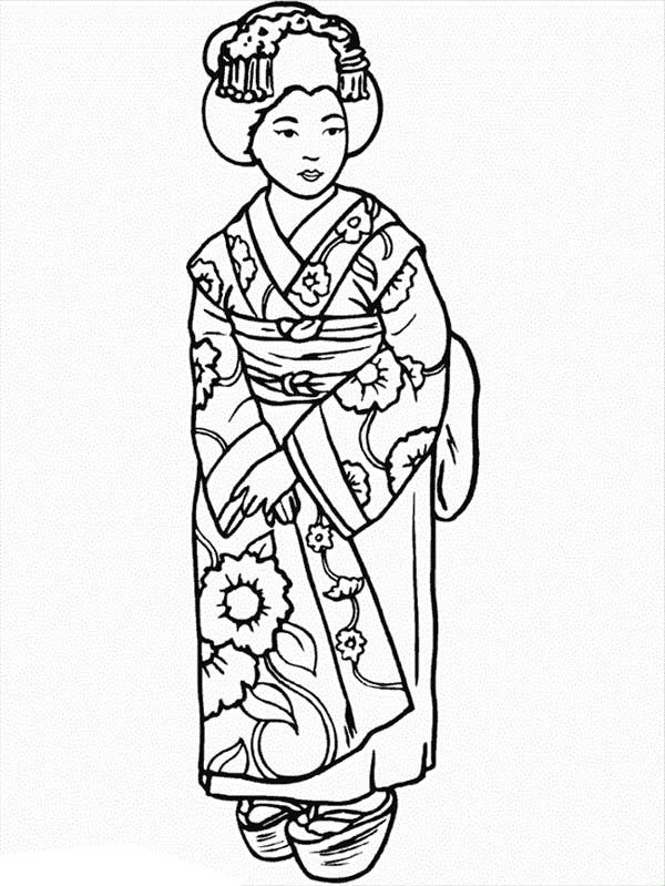 600x799 Beautiful Geisha Wearing Kimono Coloring Page