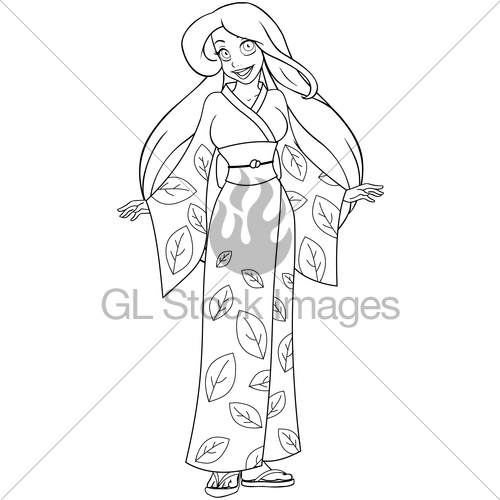500x500 Caucasian Woman In Kimono Coloring Page Gl Stock Images