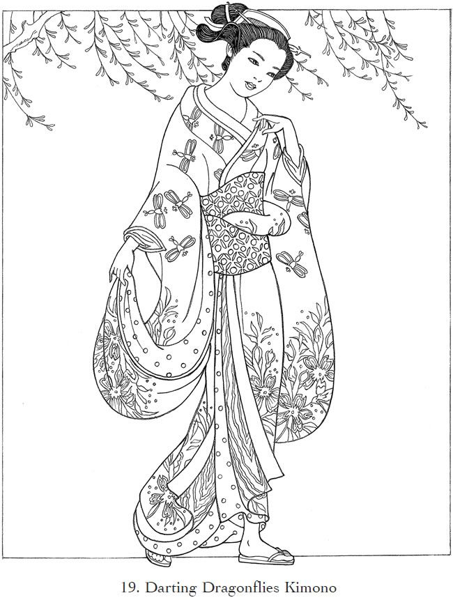 650x861 Creative Haven Japanese Kimono Designs Coloring Book Coloring