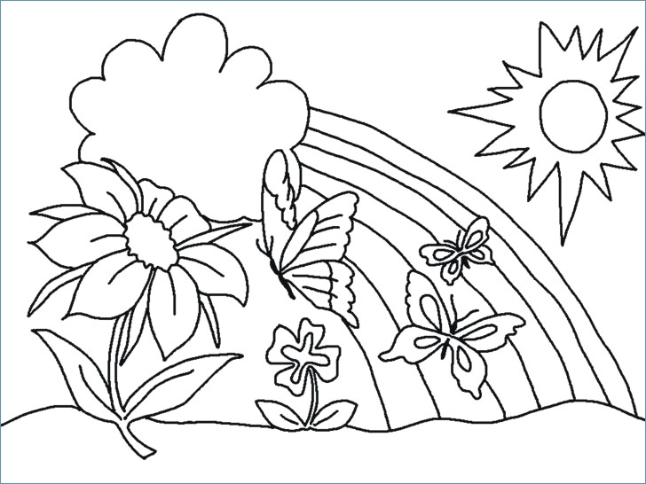 728x546 Children Picnic Spring Activities Coloring Pages