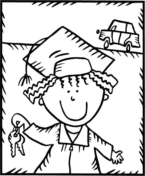 593x720 Graduation Coloring Pages