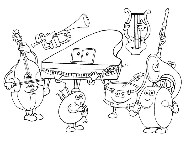 800x600 Instruments Coloring Pages Musical Instruments Coloring Pages Kids