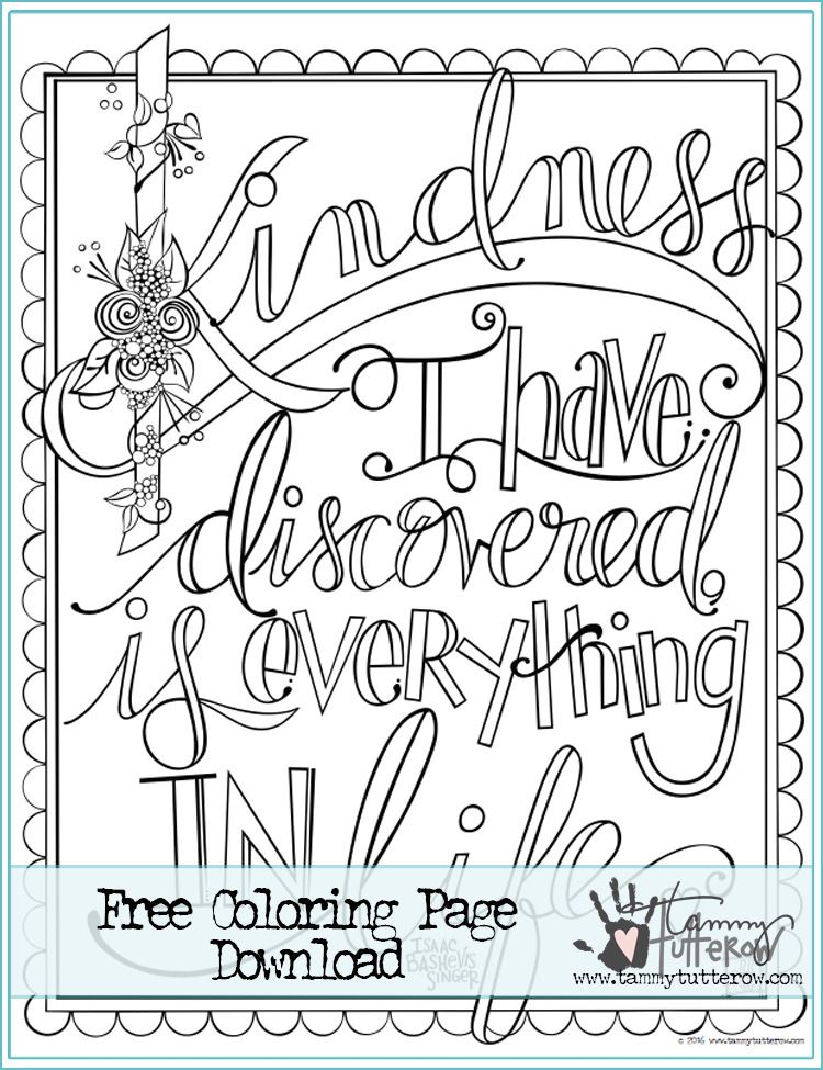 750x975 Crafty Tbt Free Coloring Page Kindness Is Everything Remastered