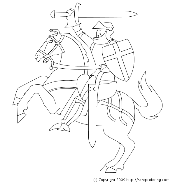 600x630 Knight Coloring Page
