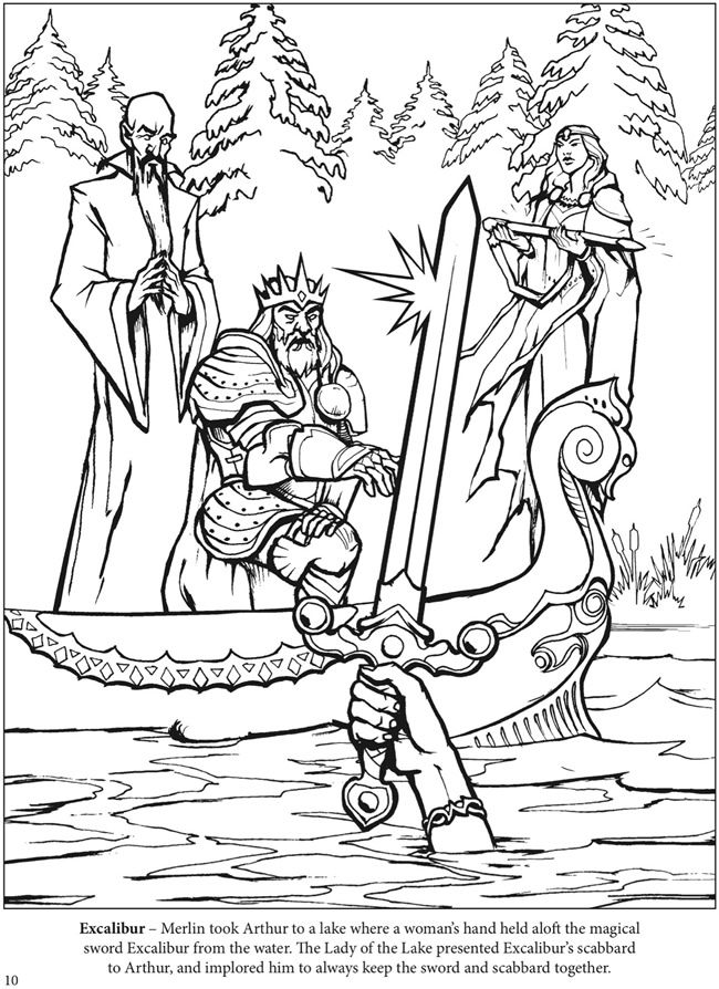 650x894 The Adventures Of King Arthur Coloring Book Dover Publications