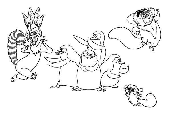 600x424 King Julien The King Of Lemur In Madagaskar Coloring Page Color Luna