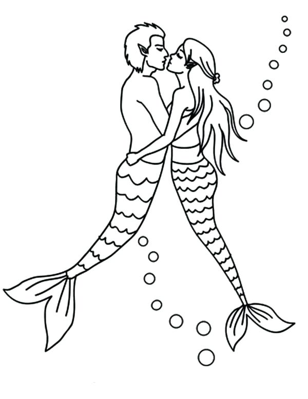 600x777 Mermaid Couple Kissing Coloring Pages Bulk Color Mermaid Couple