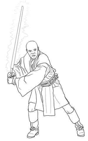 300x480 Mace Windu Coloring Page From Attack Of The Clones Category