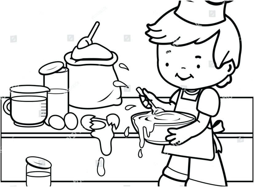 827x609 Cooking Coloring Pages Kitchen Mother Cooking Dinner