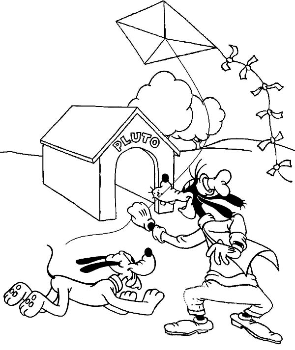 600x713 Goofy And Pluto Playing Kite Coloring Page Color Luna