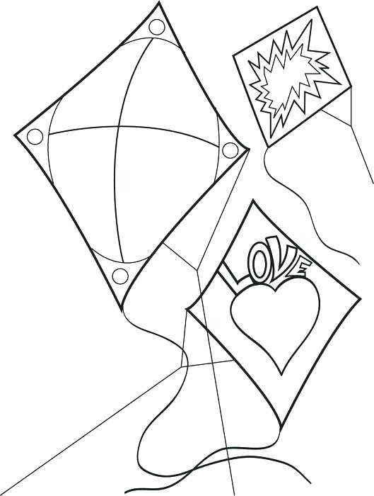 529x700 K Is For Kite Coloring Page Image Images Kite Coloring Sheets