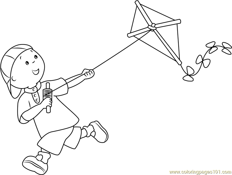 800x605 Caillou With Kite Coloring Page