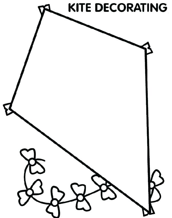 600x761 Kites Coloring Pages Kite Printable Throughout Page Plans