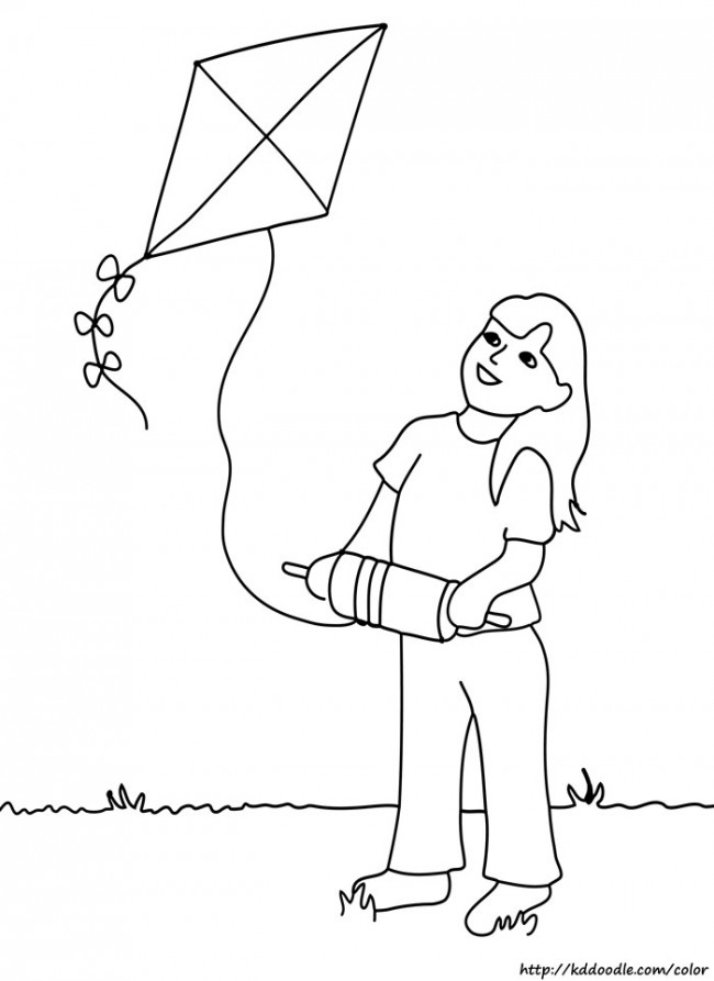 650x893 Flying Kite Coloring Page Clipart