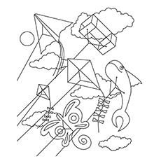 Kite Flying Coloring Pages At Getdrawings Com Free For
