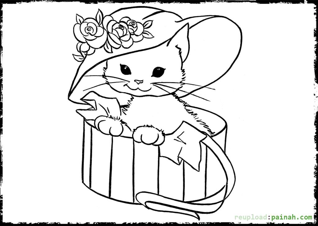 1024x728 Cats And Kitten Coloring Pages Kids Cat Free Intended