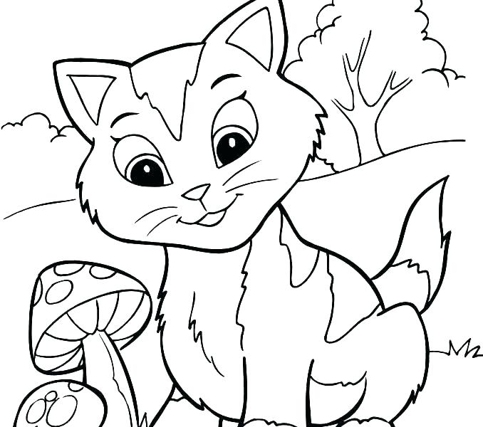 678x600 Puppy And Kitten Coloring Pages Free Printable Animals Coloring