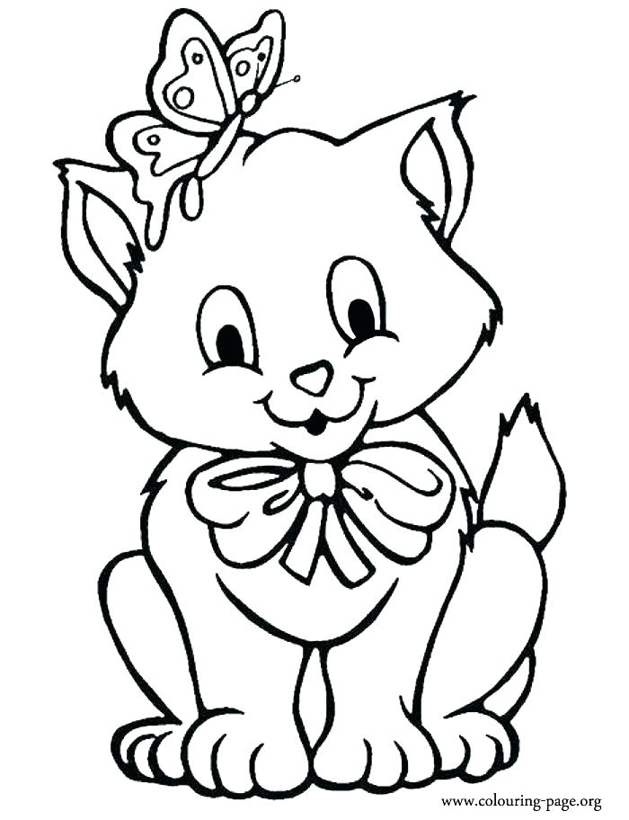 700x912 Kittens Coloring Pages Printable Drawn Kitten Coloring Page