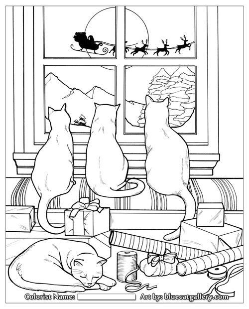 Kitty Cat Christmas Coloring Pages