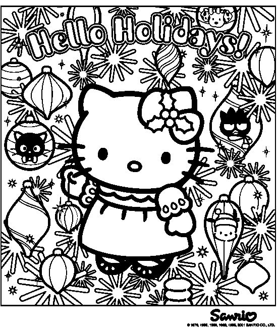 Kitten Christmas Cat Coloring Pages.Kitty Cat Christmas Coloring Pages At Getdrawings Com Free