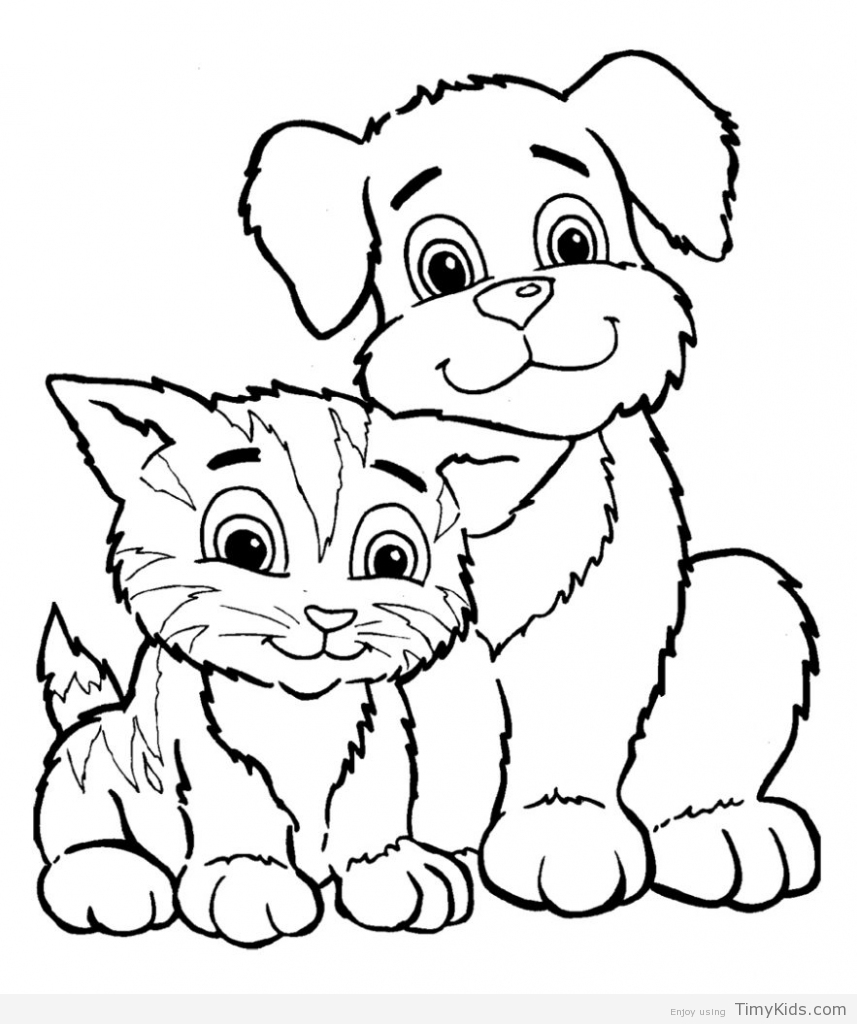 857x1024 Puppy And Kitty Coloring Pages Timykids