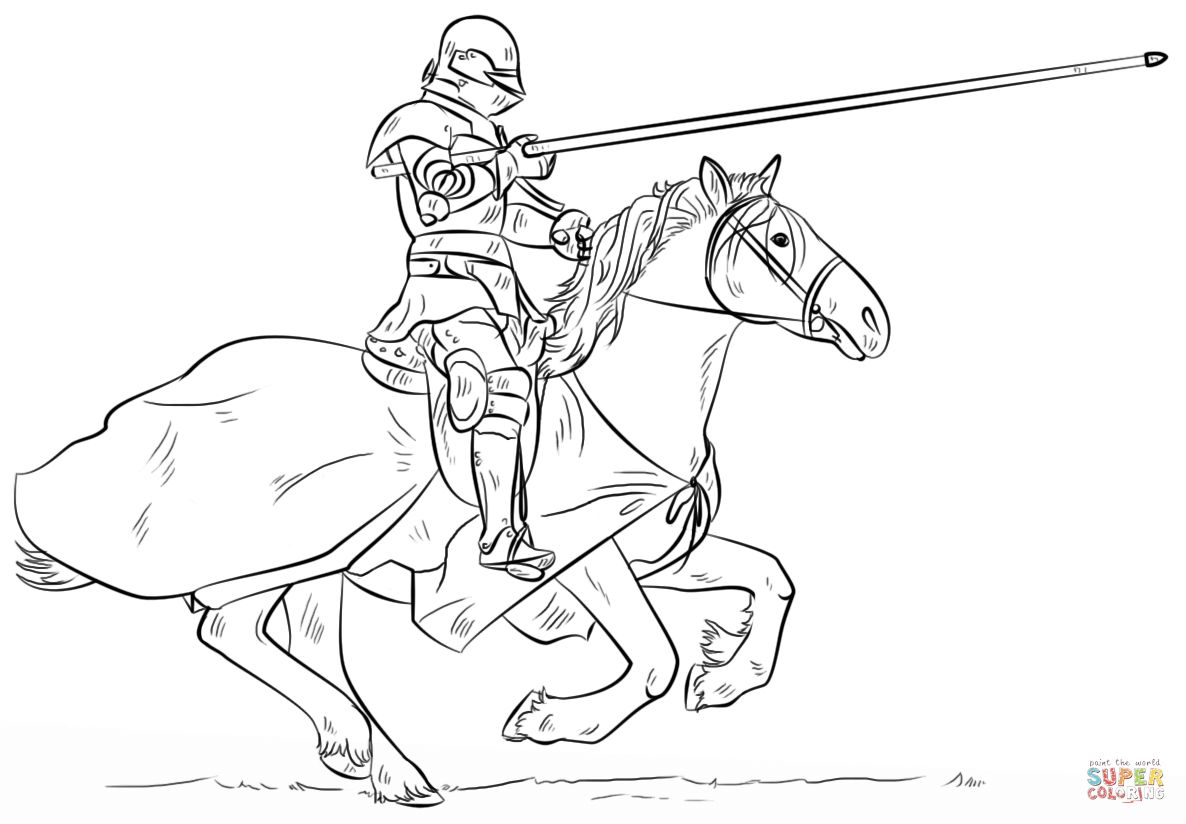 1186x824 Knight On Horse Coloring Page On Knight Coloring Pages