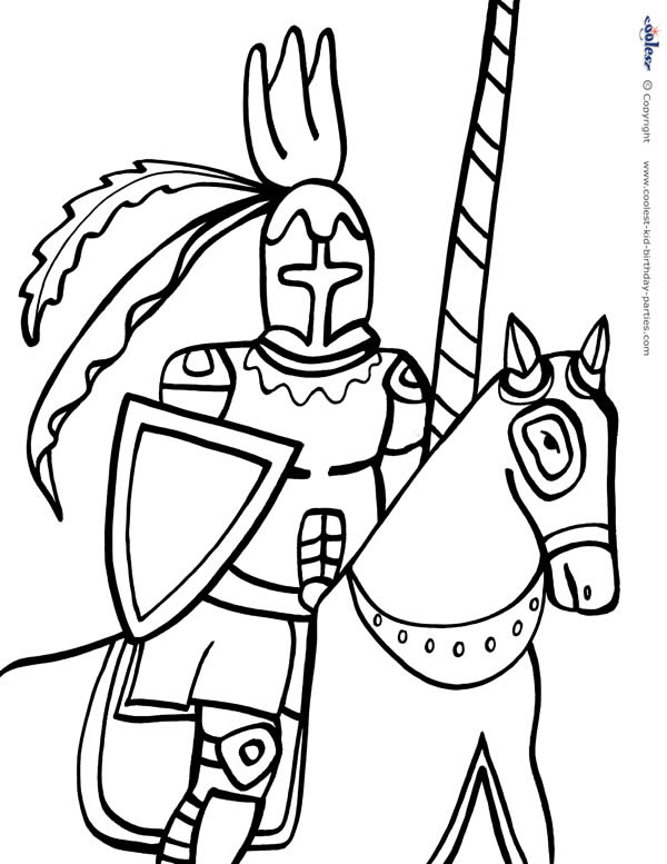 600x777 Printable Knight Coloring Page