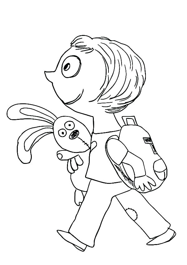 600x849 Knuffle Bunny Coloring Pages Bunny Take Her Bunny To School