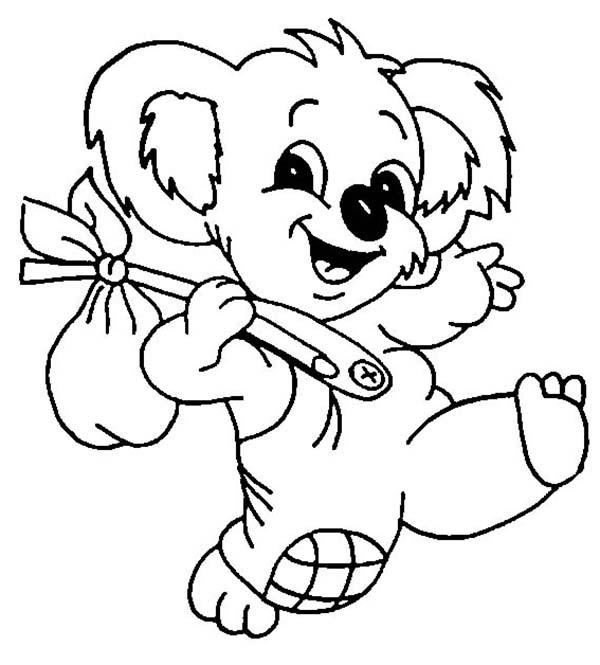 600x665 The Adventure Of Koala Bear Coloring Page Color Luna