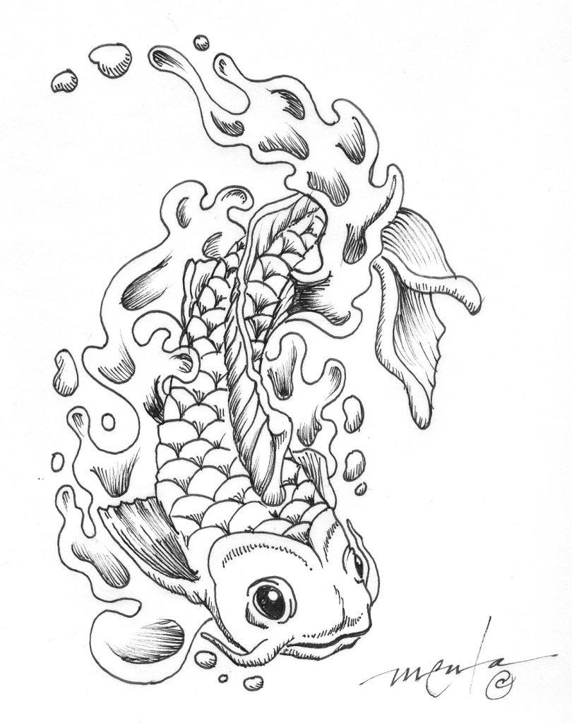 810x1024 Koi Fish Coloring Page