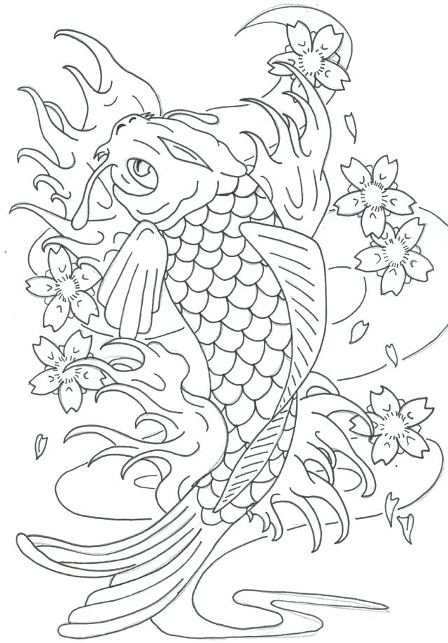640x918 Koi Fish Coloring Pages Fish Coloring Page Realistic Koi Fish