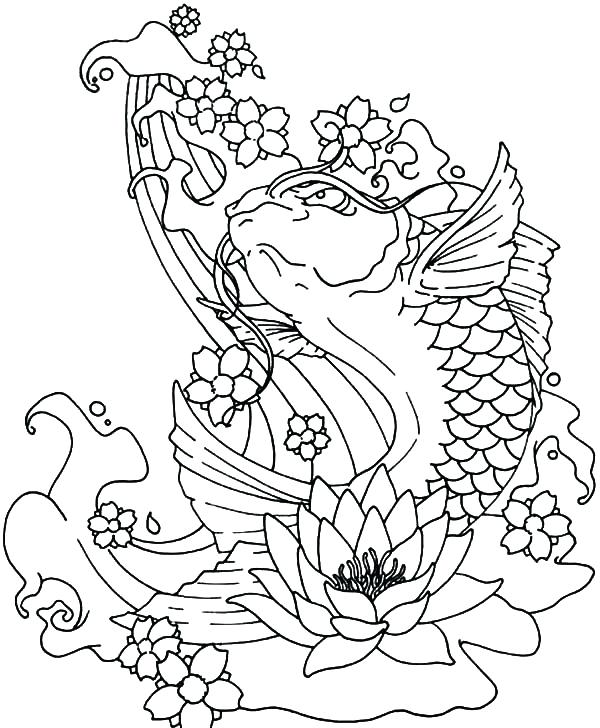600x728 Koi Fish Coloring Pages Fish Jumping Out Of Water Coloring Pages