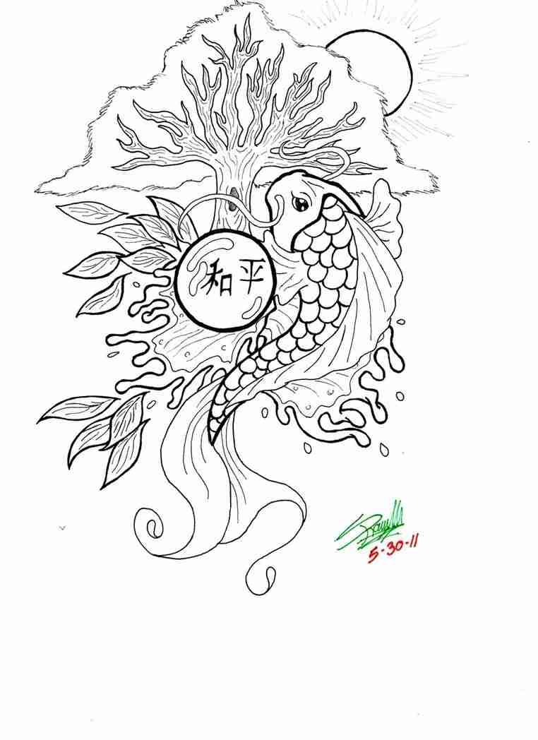 762x1048 Koi Fish Coloring Pages Sheetsfree For Kids Free Endearing
