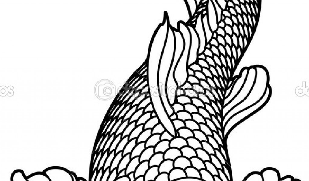 1024x600 New Fish With Scales Coloring Page Japanese Koi Fish Drawing