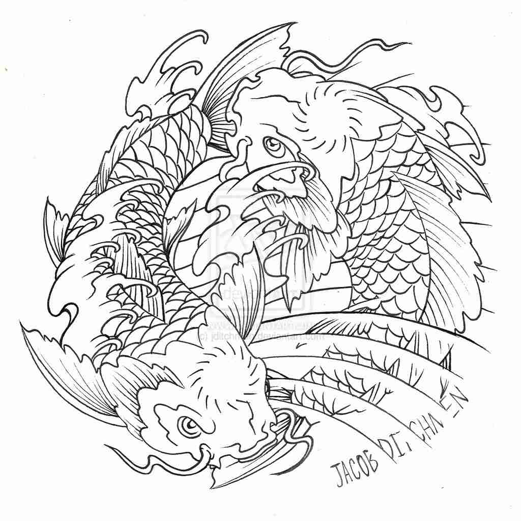 1024x1024 Japanese Koi Coloring Pages Download And Print For Free Adult
