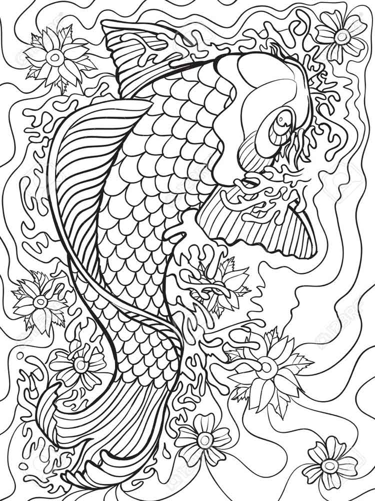 750x1000 Koi Fish Coloring Pages For Adults Free Printable Koi Fish