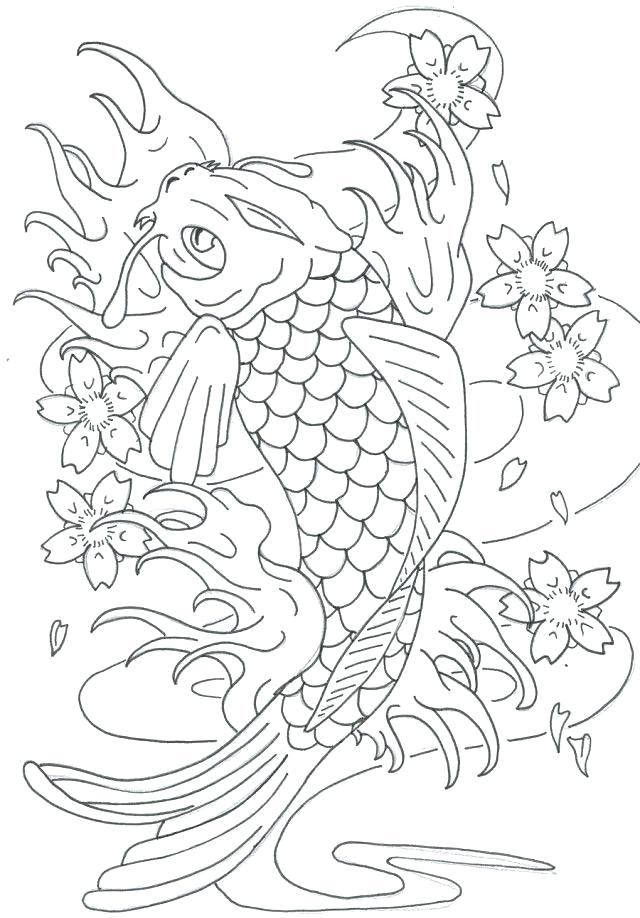 640x918 Koi Fish Coloring Page Realistic Fish Coloring Pages Fish Color