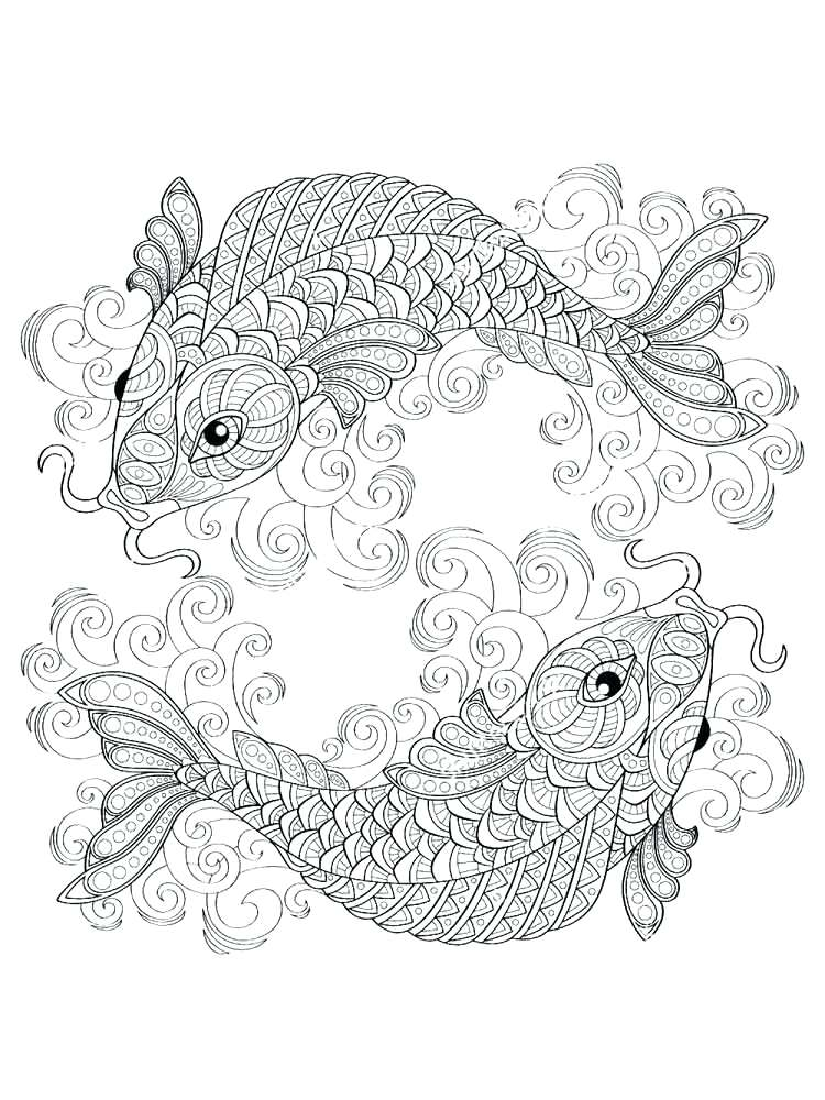 750x1000 Koi Fish Coloring Pages Fish Coloring Pages Adult Koi Fish