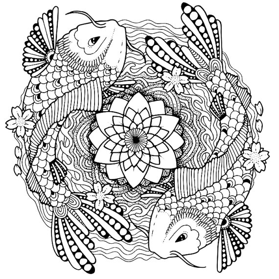 570x570 Koi Coloring Page For Adults, Tattoo Adult Coloring Page, Koi