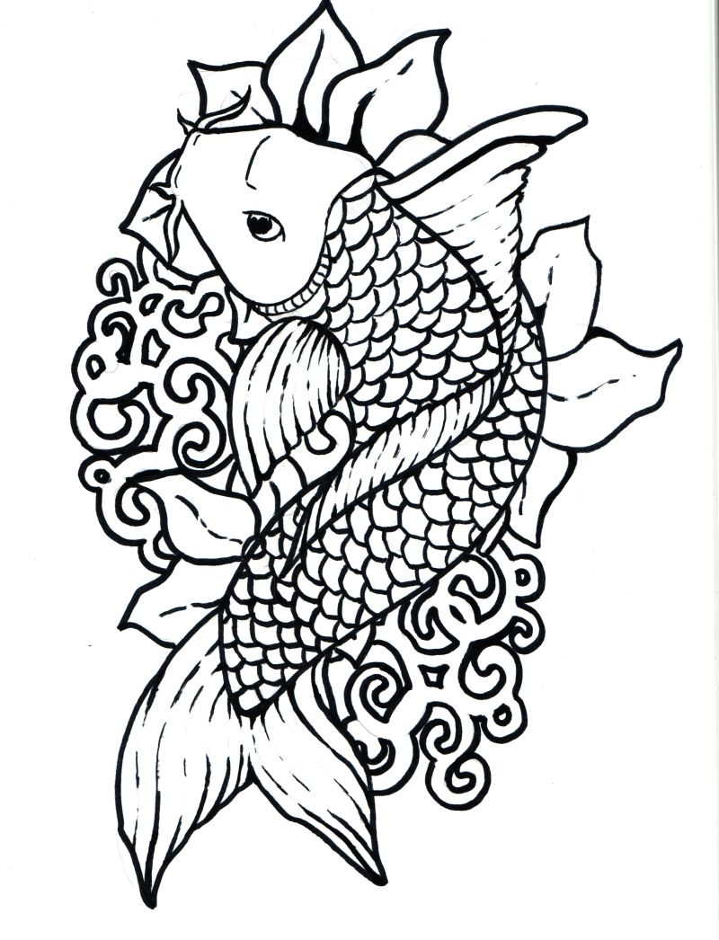 800x1046 Inspirational Koi Fish Coloring Page For Your Kids
