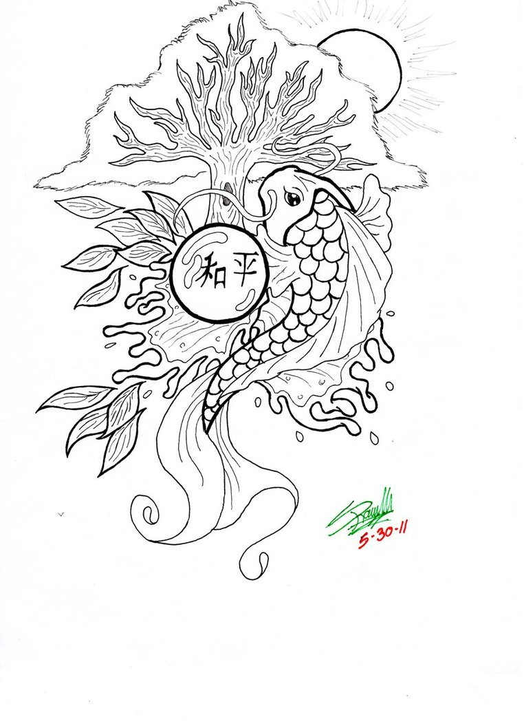 762x1048 Koi Fish Coloring Page Free Printable Pages Lovely
