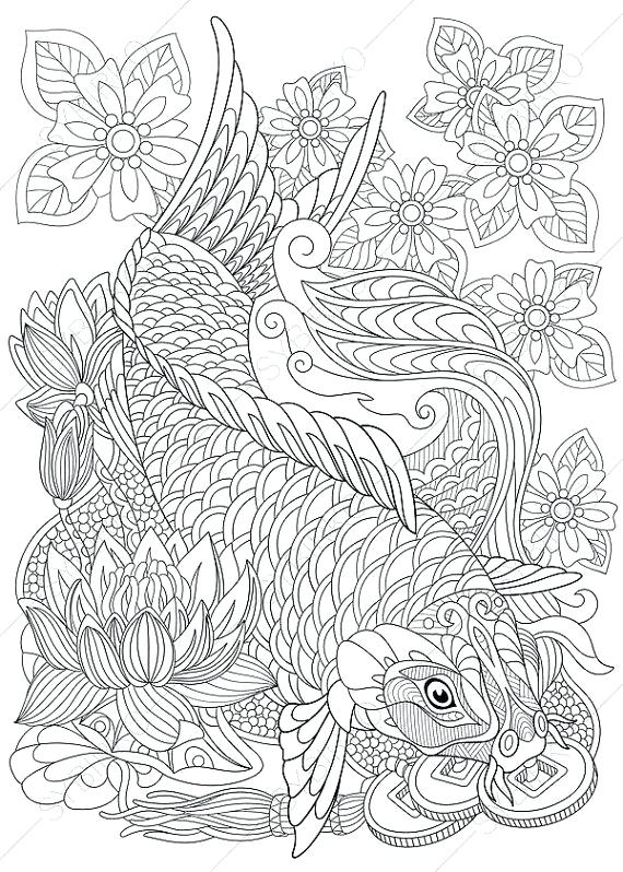 570x798 Koi Fish Coloring Pages Carp Fish Coloring Page Adult Coloring