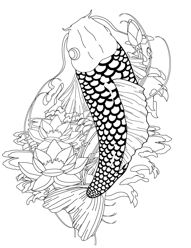 612x792 Koi Fish Coloring Pages To Download And Print For Free