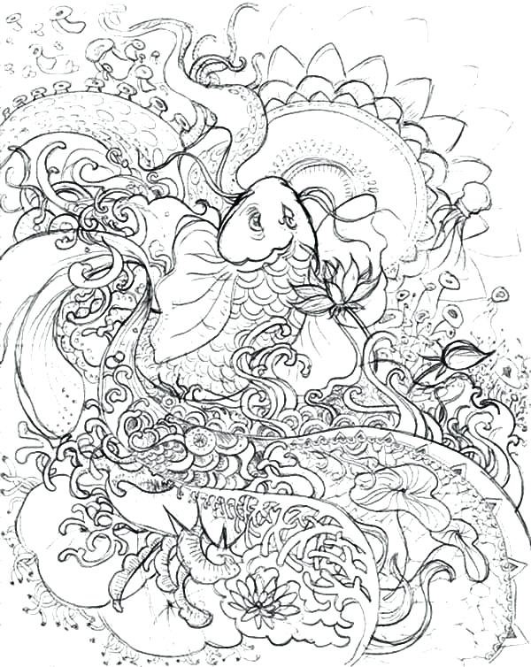 600x754 Koi Fish Coloring Pages