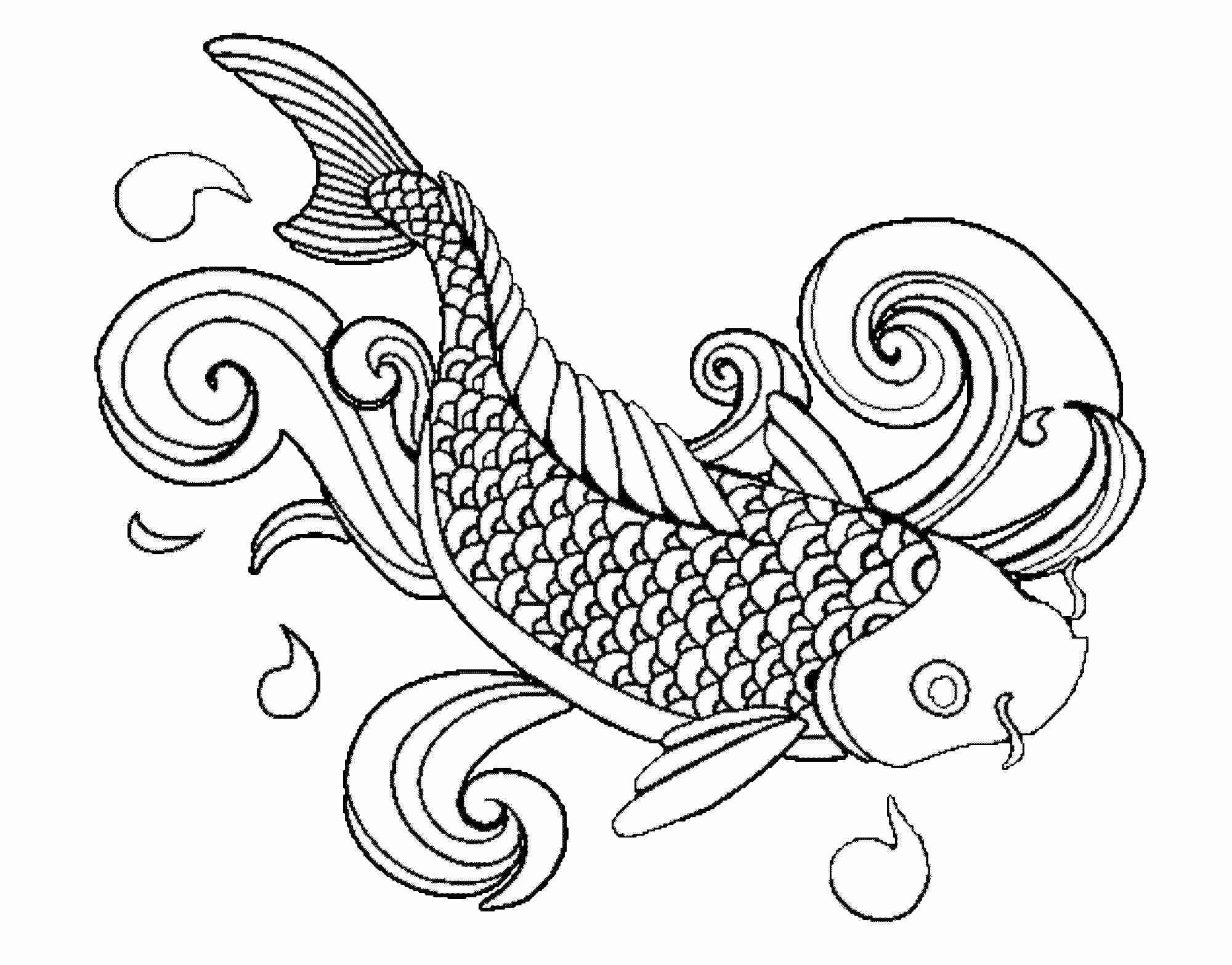 2000x1567 Free Japanese Koi Fish Coloring Pages For Adult Striking Coy